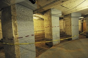 Massive pillars which support the weight of the Rotunda have been exposed for the first time in the basement at the State Capitol in St. Paul, where construction is in full swing, and $272.7 million is being spent to update the facilities, photographed on July 9, 2014.  (Pioneer Press: Scott Takushi)